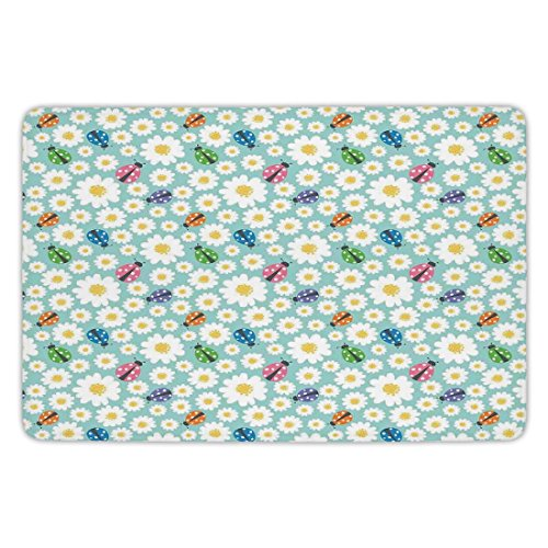 Ladybugs Good Luck - Bathroom Bath Rug Kitchen Floor Mat Carpet,Ladybugs,Colorful Daisies and Ladybirds Image Good Luck Charm Discover Your True Self Concept,Multi,Flannel Microfiber Non-slip Soft Absorbent