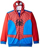 Marvel Men's Spiderman Character Zip Front Hoodie, Red/Blue, Large