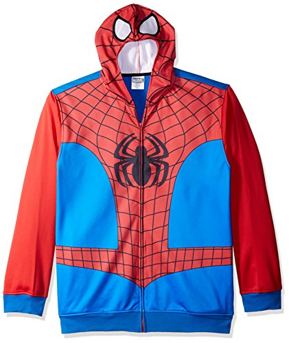Marvel Men's Spiderman Character Zip Front Hoodie, Red/Blue, Large by Marvel