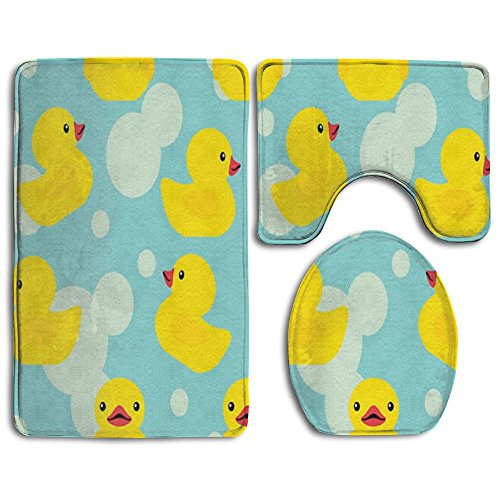 HOMESTORES Rubber Ducky Skidproof Toilet Seat U Shape Cover Bath Mat Lid Cover 3 Piece Non Slip Bath Rug Mats Sets For Shower SPA