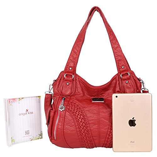 Sale Pu Handbags Purses Red �� Angelkiss and Large Shoulder Bags Women On Lether Washed 5tPtqX7w