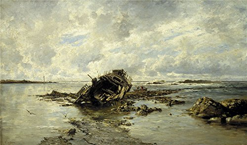 The Perfect Effect Canvas Of Oil Painting 'Haes Carlos De A Wrecked Ship 1883 ' ,size: 18 X 31 Inch / 46 X 78 Cm ,this Beautiful Art Decorative Prints On Canvas Is Fit For Bar Decor And Home Artwork And Gifts