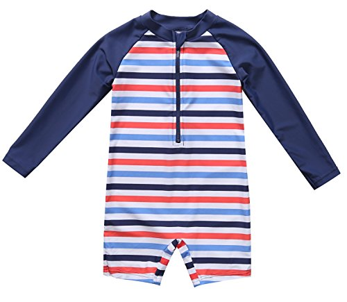 ATTRACO boy one Piece Swimsuit Zip up Long Sleeve Stripe 12-18 Months