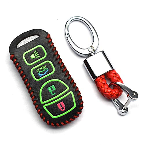 (ontto 4 Buttons Auto Smart Key Shell Skin PU Leather Remote Cover Protector with Keyring Fit for Nissan Sentra Armada Infiniti EX35 FX35 I35 QX56 Luminous)