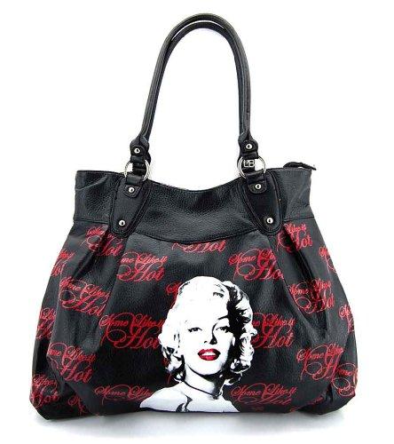 Marilyn Monroe Top Zip Shoulder Bag (Marilyn Monroe MM24 Large Purse, Black Some Like It Hot Bag)