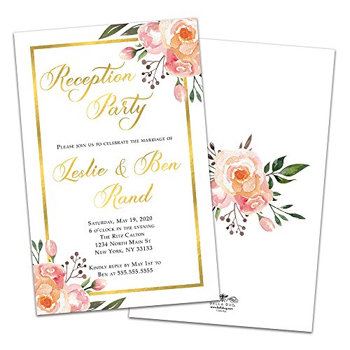 (Gold Framed Floral Personalized Wedding Reception Invitations)