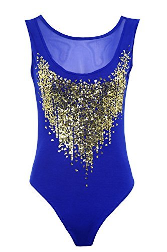 Fantasia Boutique femmes PUR sequins dorés Insert maille dos nu Justaucorps femmes Justaucorps - Bleu, EU 40