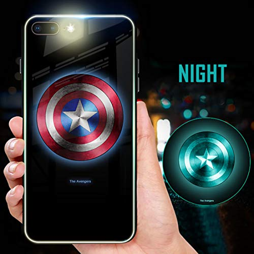 Captain Super Hero America Luminous Glow Fashion Luxury Tempered Glass Hybrid Case for iPhone X XS XS Max XR 7 8 6 6s Plus (Style 1, iPhone Xs Max)