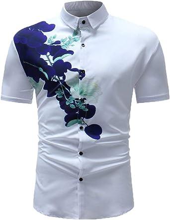 Camisas para Hombre Camisa Casual Modernas De Casual Estampado Vintage Camisas De Polos De Manga Corta Camisa De Polos De Solapa para Verano: Amazon.es: Ropa y accesorios