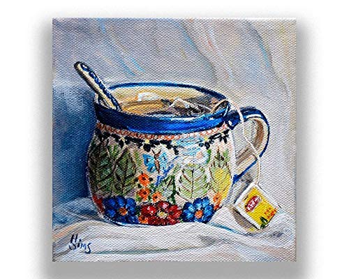 - Tea Cup Still Life Art Print Giclee, Polish Pottery Mug, Kitchen Wall Decor, size/mat option