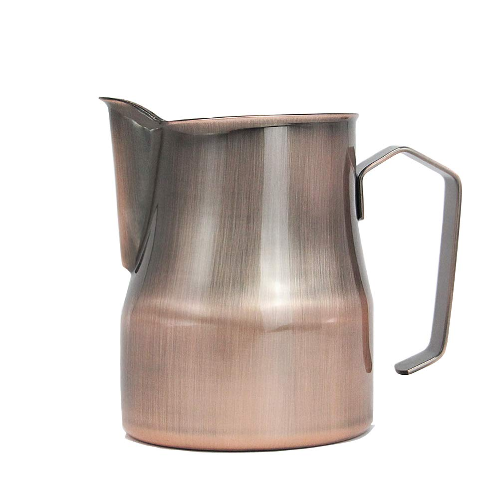Frothing Pitcher Lengthen Mouth Handheld Milk Frothing Pitcher, 18/10 Stainless Steel 20oz/600ml Streamlined Milk Steaming Frothing Pitcher Body Suitable for Coffee, Latte Art And Frothing Milk Perfect for Espresso Machines