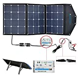 ACOPOWER 12V 105W Portable Solar Panel Kit; Foldable Solar Suitcase For RV, Boat with SAE Connectors (Solar Panel Kit w 10A Charge Controller)