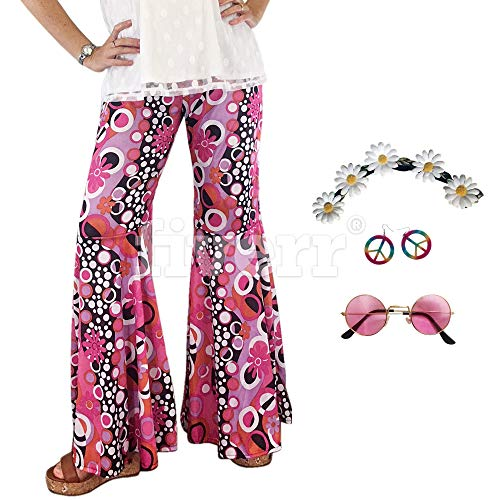 Groovy 60's Hippie Bell Bottom Flared Costume Pants for Women, Matching Flower Power Headband Peace Sign Earrings and Vintage Glasses (Small/Medium -