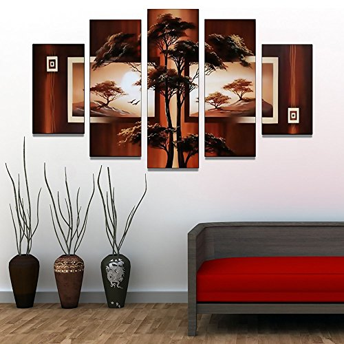 Designart OL381 5 Piece Hand Painted African Tree Landscape Artwork by Design Art