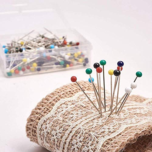 PandaHall Elite About 260-270 Pcs Sewing Pins 37mm Multicolor Round Ball Head Pins for Dressmaking Jewelry Components Flower Decoration and Map Tacks Push Pins