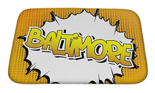 Gear New Bath Mat For Bathroom, Memory Foam Non Slip, Baltimore Comic Book Style Word On Comic Book Abstract, 24x17, (Books Set In Baltimore)