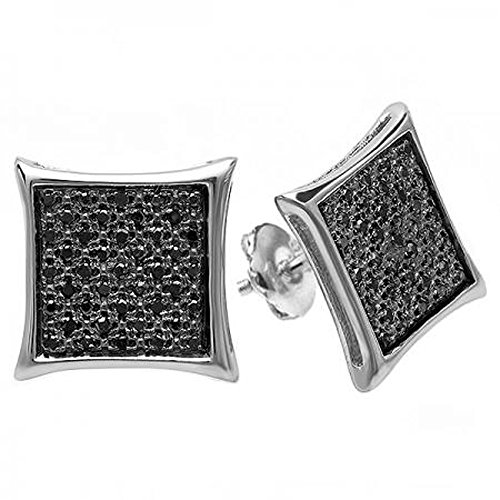 0.25 Carat (ctw) Sterling Silver Real Black Diamond Kite Shape Mens Hip Hop Iced Micro Pave Stud Earrings 1/4 CT by DazzlingRock Collection