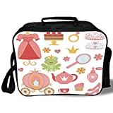 Insulated Lunch Bag,Kids Decor,Princess Tiara Tea Party Mirror Teapot Tea Party Frog Crown Fairy Cupcake Girls Decorative,for Work/School/Picnic, Grey