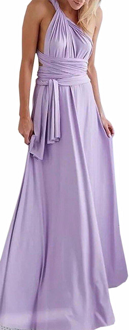 TALLA M. EMMA Mujeres Falda Larga de Cóctel Vestido de Noche Dama de Honor Elegante sin Respaldo Morado