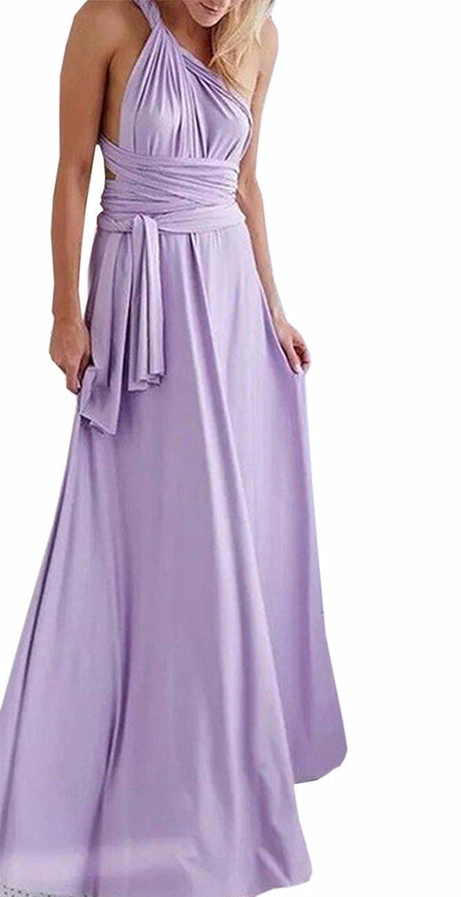 TALLA XL. EMMA Mujeres Falda Larga de Cóctel Vestido de Noche Dama de Honor Elegante sin Respaldo Morado XL