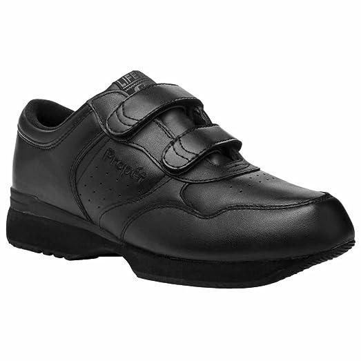 Propet Life Walker Strap Men US 9.5 5E Black Walking Shoe