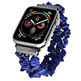 V-MORO Bracelet Compatible with Apple Watch Bands 44mm/42mm Women Fashion Handmade Natural Stone Strap Replacement for iWatch Series 4/3/2/1 44mm/42mm with Black Stainless Steel Adapters Girls