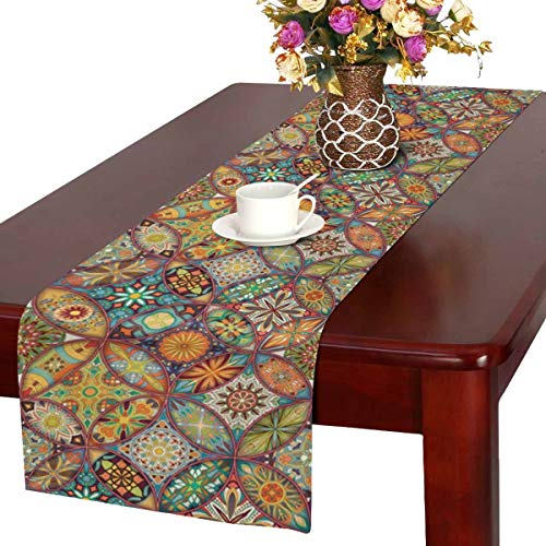 INTERESTPRINT Colorful Mosaic Ethnic Floral Mandala Pattern Table Runner Linen & Cotton Cloth Placemat Home Decor for Kitchen Dining Wedding Party 16 x 72 Inches ()
