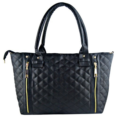 THG Fashionable Black Quilted Faux Patent Leather Office Tote Shoulder ()