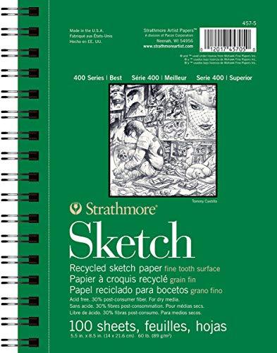 "Strathmore 457-5 400 Series Recycled Sketch Pad, 5.5""x8.5"" Wire Bound, 100 Sheets"