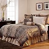 King 12-piece Ensemble Luxury Bedding, Urban Safari, Leopard Animal Print King Comforter Set+piece of High Quality Ln Wood Comb Company(bundle)