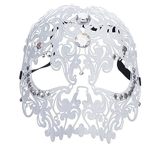 (Face mask Shield Veil Guard Screen Domino False Front Venice high Class Metal mask Full face Party Dance Goggles Sexy holstery Pattern Wrought Iron mask White)