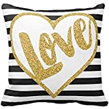 Love Black White Print Gold Glitter Stripes Pattern Pillow Case 18 x 18 Inches(Not Real Gold Glitter, Just Print Picture Effect)