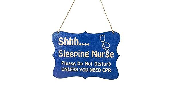 Amazon.com: Azul Shhh Cartel para puerta de enfermera de ...