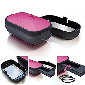 MelodySusie® Rose Detangling Hair Brush - Professional Portable Detangling Hair Brush with a Mirror, a Holding handle and a Slot - Adults & Kids - Wet and Dry hair (Rose)