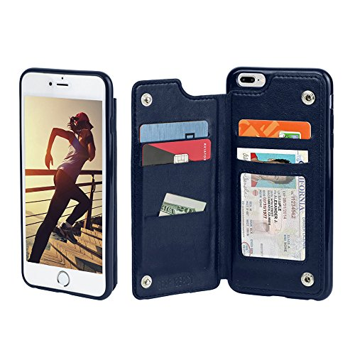 iPhone 7 Plus Folio Case, Gear Beast iPhone 7 Plus Top View Wallet Case Slim PU Leather Flip Case, 4 Card Slots, ID Window, Secure Snaps and Shock Absorbing Protective TPU Bumper Case - Iphone 4 Cases Make Your Own