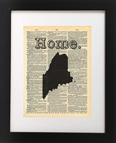 - Maine State Vintage Map Vintage Dictionary Print 8x10 inch Home Vintage Art Abstract Prints Wall Art for Home Decor Wall Decorations For Living Room Bedroom Office Ready-to-Frame