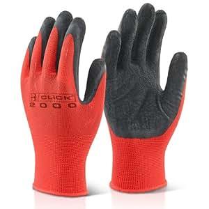 10pares de medio rojo y negro Slim de trabajo con revestimiento de látex natural grip guantes de seguridad con el revestimiento transpirable. Viene con TCH anti-bacterial bolígrafo.