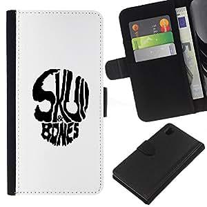 LECELL--Cuero de la tarjeta la carpeta del tirón Smartphone Slots Protección Holder For Sony Xperia Z1 L39 -- Huesos del cráneo --