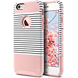 ULAK Slim Fit Case for iPhone 6S, iPhone 6 4.7 inch, Hybrid Dual Layer Scratch Resistant Hard Back Cover Shock Absorbent TPU Bumper Case for Apple iPhone 6/6s 4.7 inch(Rose Gold/Black Stripe)