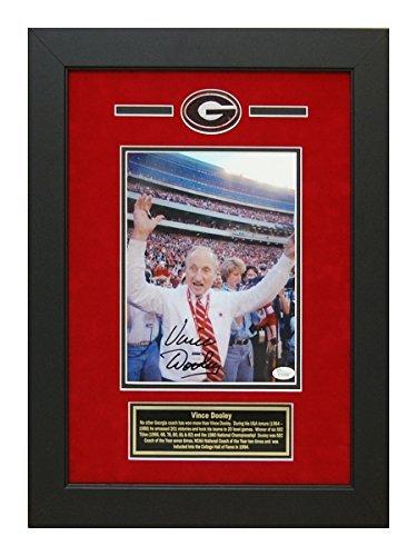 Vince Dooley Autographed Hand Signed Georgia Bulldogs 8x10 Photo Custom Framed JSA Certificate - Georgia Bulldogs 8x10 Photo