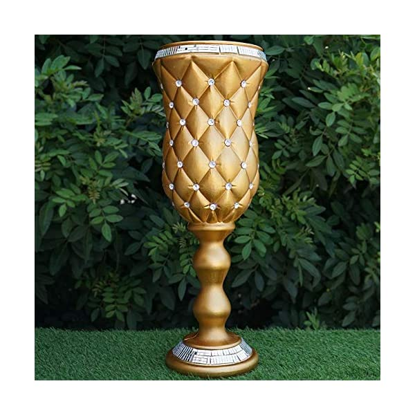 """BalsaCircle 6 pcs 24"""" Tall Gold Vases with Crystal Beads for Wedding Party Flowers Centerpieces Home Decorations Bulk Supplies"""