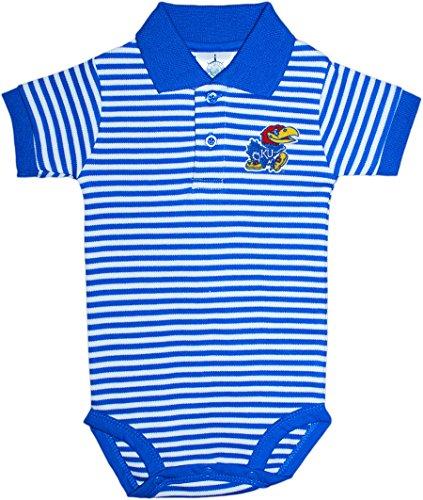 (Kansas University Jayhawks Newborn Striped Polo Bodysuit, Blue, 3-6 Months)
