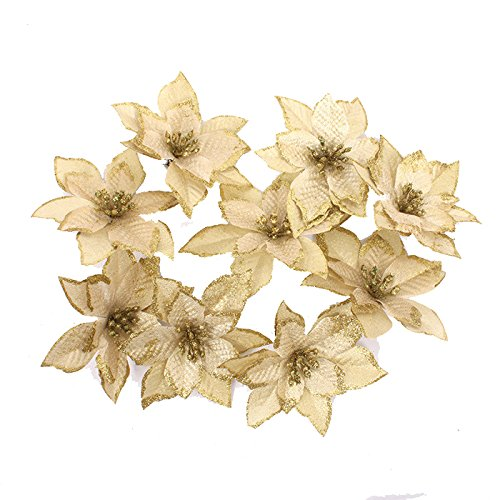 Neomark 8 Pieces 13 cm Artificial Poinsettia Flower For Christmas Tree Wreath House Decoration Blue Red Golden With Shining Edge (golden) (Poinsettia For Christmas Tree)