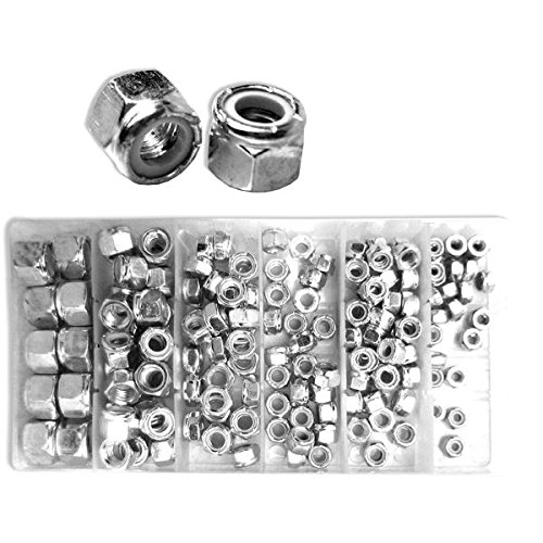 Neiko 50432A Nylon Lock Nut Assortment Kit with Carrying Case, 150 Pieces (Gorilla Hex Bolts)