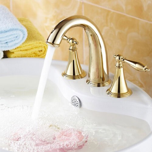 Wovier Gold Polished Waterfall Bathroom Sink Faucet With Drain,Two Handle Three Hole Lavatory Faucet,Widespread Basin Mixer Tap With Pop Up Drain,8 Inch Bathroom Faucet