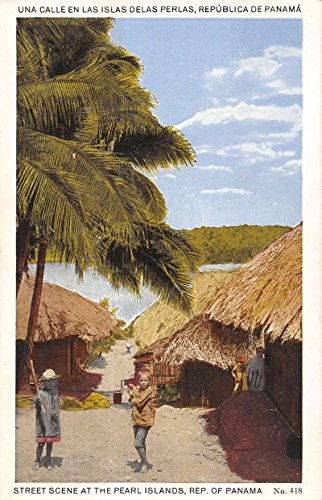 Pearl Islands Panama Street Scene Native Children Huts Antique Postcard K15497 (Native Huts Postcard)