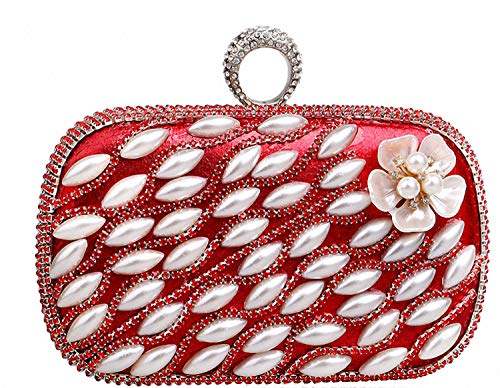 Wedding Handbag Party amp;america Evening Bag Pearl Flower Red Clutch Ladies Europe q8w6z6A