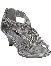 da944a1c3cdd J.J.F Shoes Fabulous Angel-37K Little Girls Bling Rhinestone Platform Dress  Heels Sandals