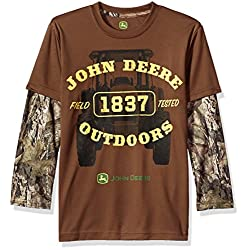 John Deere Little Boys' 2 for Tee Poly, Brown/Camo, 5