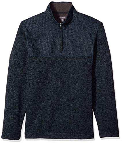 Van Heusen Men's Big and Tall Flex 1/4 Zip Texture Block Sweater Fleece,Large Tall,Blue Thunder ()